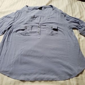 Torrid Blue V-Neck Long Sleeve Top Sz1X